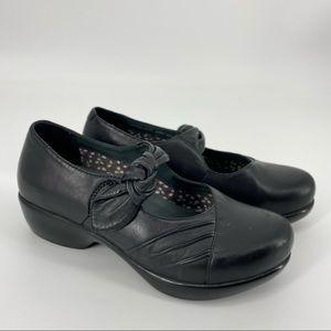 Dansko Ainsley Clogs Black Leather Size 39